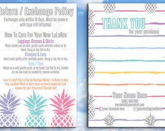Thank You & Care Cards -  4x6 - Pineapple Design