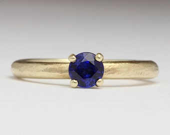 Sapphire and 9ct Yellow Gold Enagement Ring, Rustic Deep Blue Sapphire Ring, Unique Engagement Ring, September Birthstone, Beach Wedding
