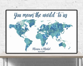 Mean the world to us etsy world map wedding guestbook you mean the world to us wedding guest book gumiabroncs Choice Image