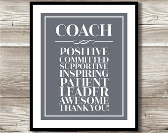 Coach Thank You Print; Gift for your coach; Digital Print; Instant Download; 8x10; appreciation
