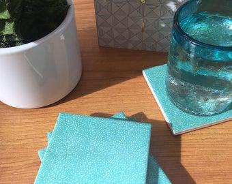 Ceramic Coasters - Turquoise Polka Design