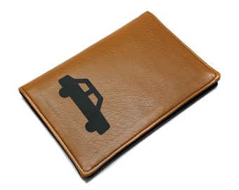 card case grey, car papers, driver's license leather camel man woman