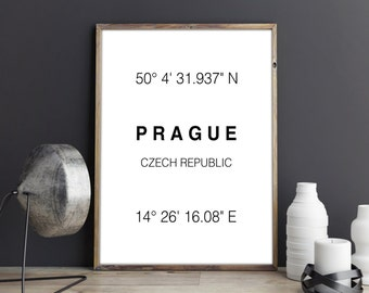 Prague Print, Prague Coordinates, Art Print, Czech Republic, Prague Typographie, Wall Decor, Poster, Printable Art, Gift, Digital Download