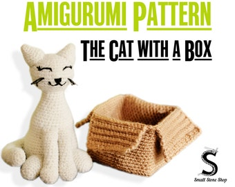 The Cat with a Box Crochet Pattern | Crochet Cat Pattern | Cat Crochet Pattern | Amigurumi Pattern PDF | Cat Crochet Doll