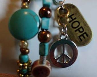 Handmade Memory Wire Bracelet, Hope & Peace, #e-901