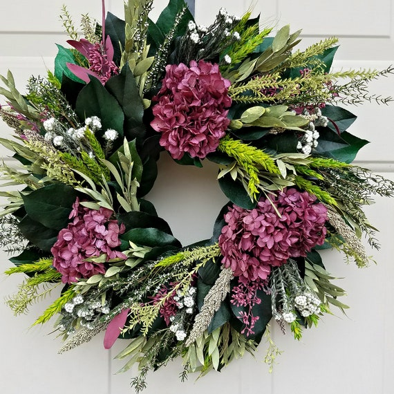 15 inch dried flower wreath, hydrangea wreath, small wreath, leaf wreath, spring wreath, memorial day wreath