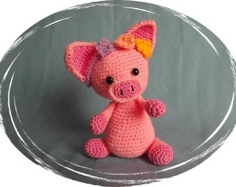 "Pig ""Flori"", Amigurumi, 5 x 5 way jointed, handmade, handmade, unique divided, OOAK"