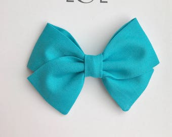 Turquoise bow (small classic) headband or hair clip