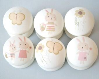 Rabbit  Drawer Knobs, Drawer Pulls, Dresser Pulls. Children's Room, Nursery Decor, Nursery, Girls Room, knobs, Kids Knobs, Woodland Theme.