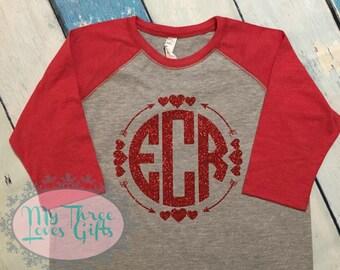 Valentines monogram baseball tee, girls valentines raglan, circle monogram, heart shirt, tween monogram valentines day, vday shirt, for her