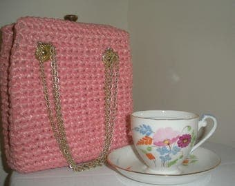 Vintage Pink Purse by Marcus Brothers Woven Raffia