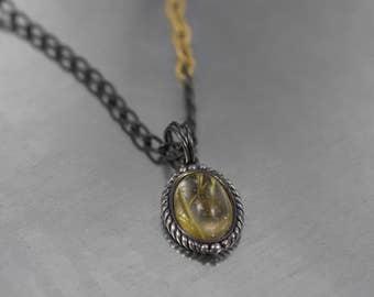Rutilated Quartz Cabochon Silver and Gold Pendant