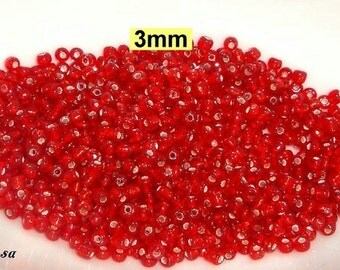 25 gr. Red seed beads 3mm Silver collection (K884. 23)