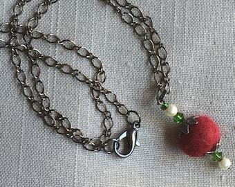 Handmade Crimson Alpaca Fiber bead necklace