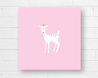 Baby Deer Canvas Art Print, Pink
