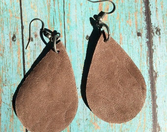 Cocoa brown leather chair teardrop leather earrings