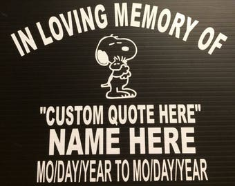 In Memory Snoopy Baby Child Decal Window Sticker in Your Color Choice! Memorial