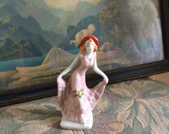 Vintage Porcelain  Deco Lady, Occupied Japan Stamped, 1940's, Mint!