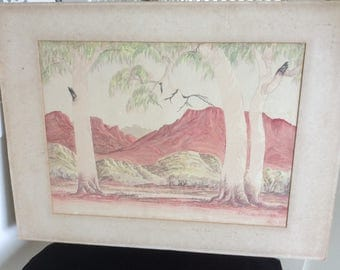 REDUCED!  Vintage Watercolor on Board by Famous Artist, Leslie Fisher, 1911-1974, Australia