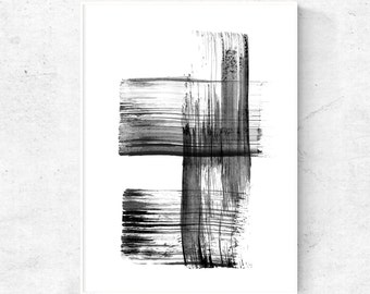 Art print Black and white abstract painting for digital download, printable wall art abstract art print, 8x10 print, 4x6 print, 24x36 poster