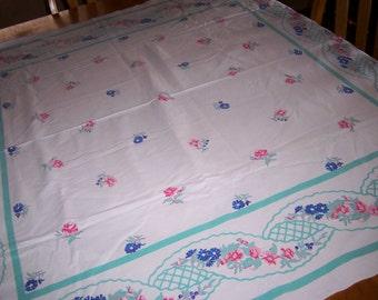 Vintage floral tablecloth multi colors