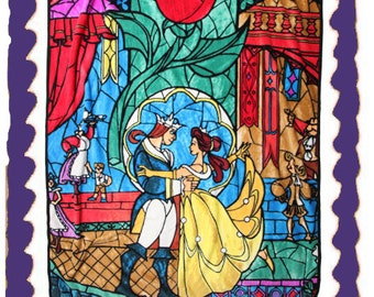 Beauty & The Beast Stained Glass Edible Cake Topper