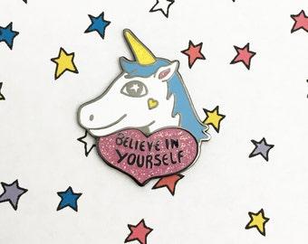 Unicorn enamel pin | positive enamel pin | Unicorn pin | Fantasy enamel pin | Unicorn lapel pin | flair | Feminist Pin | Inspirational quote