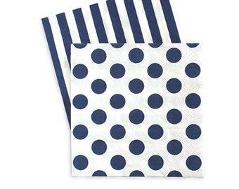 Navy Blue and White Napkins / Navy and White / Navy Stripe Napkins / Navy Polka Dot Napkins