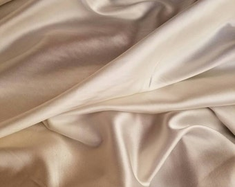92% Silk charmeuse 8-spandex IVORY Natural fiber & High end by the yard