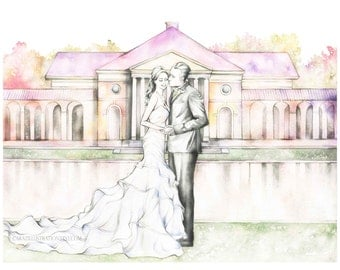 Custom Watercolor Wedding Portraits, Save the date illustration, Unique Fashion Style Portrait Drawing from Photo.
