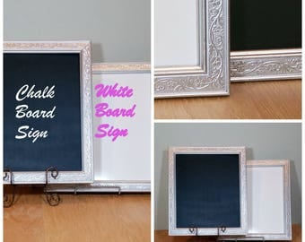 """16"""" Silver Frame Sign Chalk Board or White Board Hang or Easel Wedding Sign 2 Available Ornate Frame"""