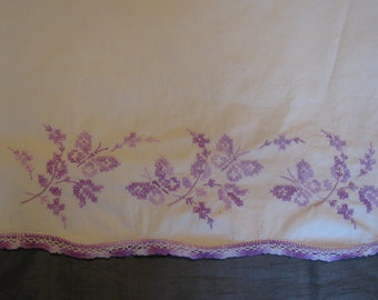 Vintage Embroidered Pillowcase with Purple Butterflies and Flowers