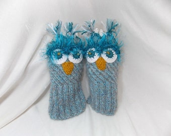 Gloves owl,warm gloves,Gloves, funny gift,Hand-knitted gloves,unique product