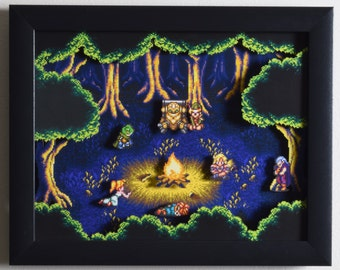 "Chrono Trigger Shadow Box - ""Fiona's Forest"" 3D Artwork with Glass Frame"