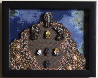 "Final Fantasy III (SNES) - ""The Floating Continent"" 3D Video Game Shadow Box with Glass Frame"