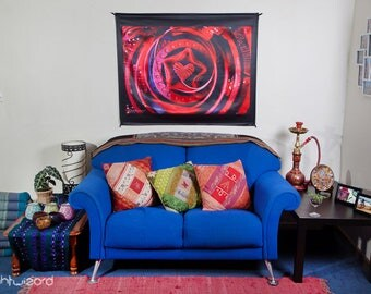 Wall Hanging,Tapestry,Banner,Visionary Art,Fabric,Photograph,Sublimation,Print,Light Wizard,Heart,Spiritual,Healing,Sacred Geometry,Shamanic