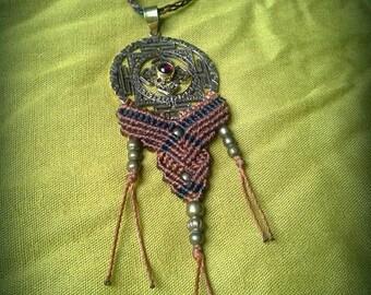 SALE macrame necklace brass sacred geometry necklace macrame necklace