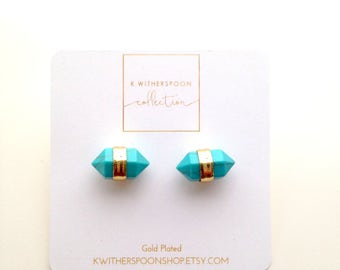 Dainty Natural Turquoise Stone Stud Earrings 18k Gold Plated