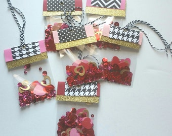 Valentines Day Shaker Gift Tag - Shaker Card - Sequin Gift Tag - Gift Tag - Confetti - Holiday Gift Tag - Happy Mail