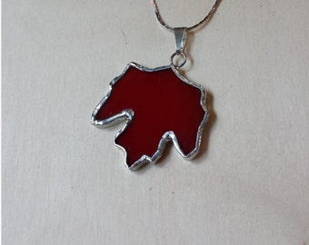 Autumn red stained glass maple leaf pendant