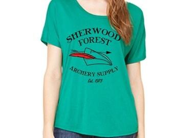 Disney Shirts Ladies Slouchy Shirt Robin Hood Shirt Sherwood Forrest Archery Supply Disneyland Shirt Disney World Shirt Magic Kingdom Shirt