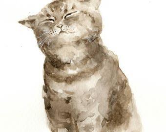 "Original watercolor ,grey tabby cat,pet painting,7""9x7""9,home decor"