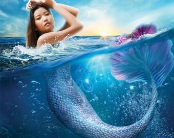 Mermaid Photoshop Template, Digital Photo Backdrop, Digital Overlay, Mermaid Tail for photographers