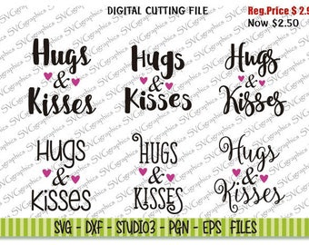Svg, dxf files, instant download, scrapbooking, vector graphic for silhouette Cameo, cricut - 304-Hugs and Kisses design