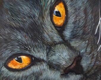 Blue cat- Original Oil Painting Cat, Cat Painting on canvas, Oil Painting, Original Painting, Blue Cat Art, Animal Oil, One of a kind