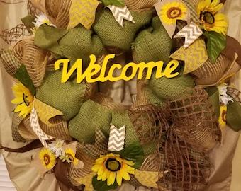 Sunflower welcome wreath, burlap wreath,  sunflowers, spring,  welcome wreath