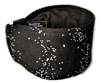 Elegant Beaded Black Mesh Lined Headband, Women's Wide Headband,Glimmering Head Band, Glamorous Hair Accessories,  Light Reflecting Headband