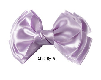 """Large Purple Hair Bow,Purple,Lavender,Big Hair Bow,5"""" inch, Solid Boutique Layers Satin Ribbon,Satin Bow,Flower Girls, Weddings,Big Hair Bow"""