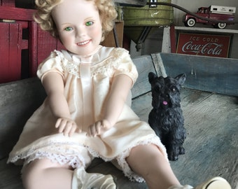 Shirley Temple Porcelain Doll with Dog |  Modern Shirley Temple Doll