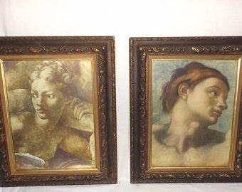 """Turner Wall Art vintage framed prints,Victorian decor,set of 2,molded wood frame,dark brown frames,20""""x16"""",Eve,original frames,wall decor,"""